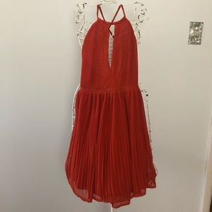 H&M orange (pumpkin) pleated dress backless
